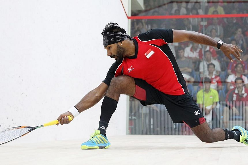 Singapore squash players Vivian Rhamanan (above) and Marcus Phua will face Indonesia in the men's jumbo doubles final on June 15, 2015. -- PHOTO: SINGAPORE SEA GAMES ORGANISING COMMITTEE/ACTION IMAGES VIA REUTERS