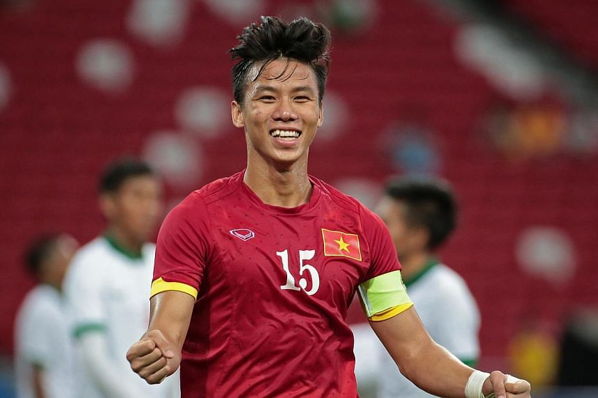 Vietnam's Que Ngoc Hai celebrating after scoring his team's fifth goal against Indonesia on Monday, June 15, 20-15.Vietnam sent Indonesia crashing into the international football wilderness with a 5-0 drubbing in the SEA Games bronze-medal matc