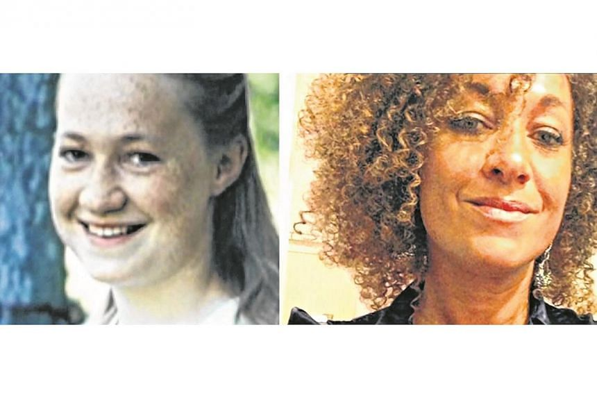 (Left) A fair-skinned and blonde Rachel Dolezal. Dolezal, a prominent activist for civil rights in the United States, claimed for years that she was partly black. -- PHOTO: SCREENGRAB/ CNN