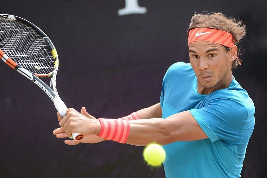 Rafael Nadal of Spain in action during the final match against Viktor Troicki of Serbia at the ATP tennis tournament in Stuttgart, Germany on Sunday. -- PHOTO: EPA