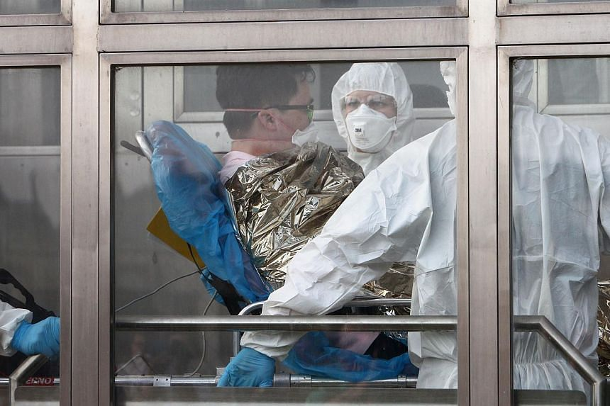 A South Korean patience suspected of suffering from Middle East Respiratory Syndrome (Mers) is admitted to Kramare hospital in Bratislava, Slovakia. -- PHOTO: AFP