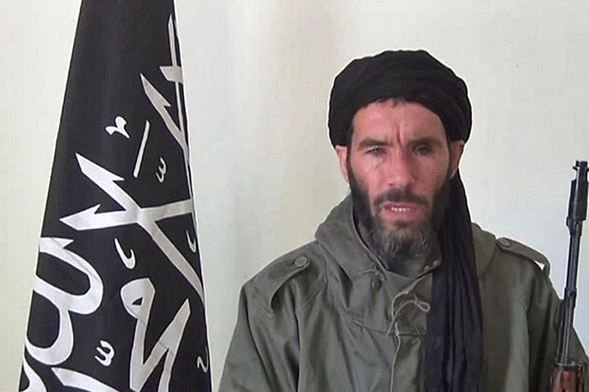 A file photograph taken on Jan 17, 2013, from a video obtained by ANI Mauritanian news agency reportedly shows former Al-Qaeda in the Islamic Maghreb (AQIM) emir Mokhtar Belmokhtar speaking at an undisclosed location. -- PHOTO: AFP
