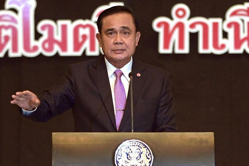 Thai Prime Minister Prayut Chan-o-cha has denied rumours of a counter-coup by senior military officers on Tuesday, June 16, 2015. -- PHOTO: AFP