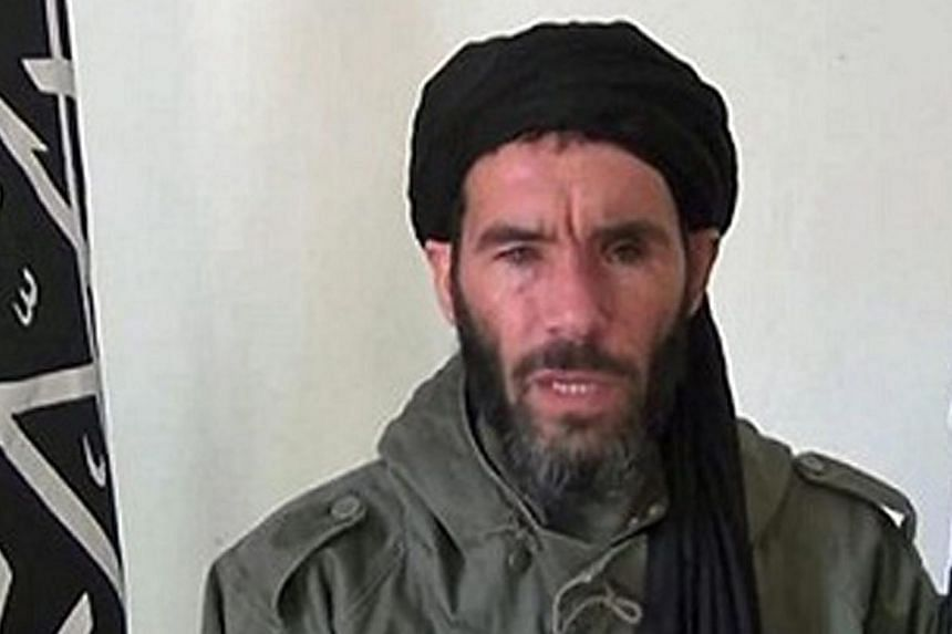 An undated handout picture made available by the US Federal Bureau of Investigations (FBI) on June 15, 2015 shows Mokhtar Belmokhtar, a veteran Islamist fighter affiliated with al-Qaeda in North Africa. Libyan militant group Ansar al-Sharia denied on