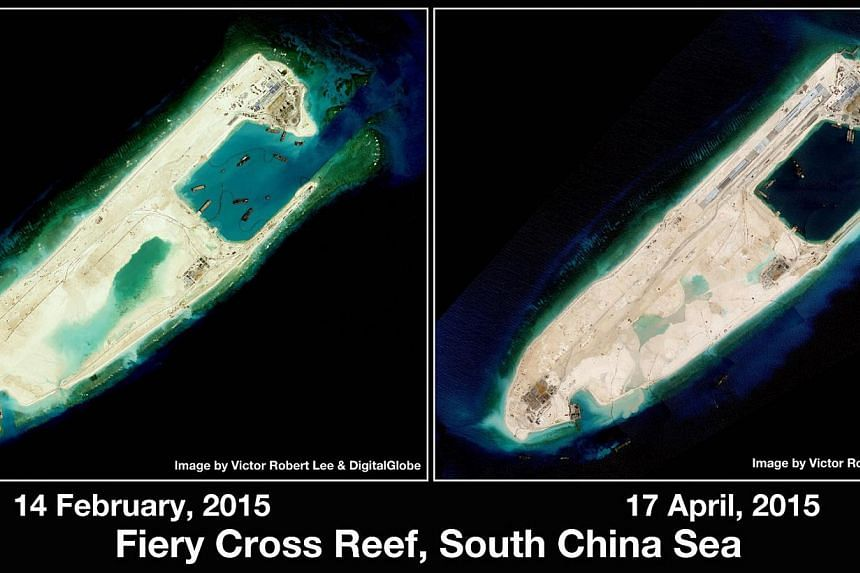 Satellite images dated Feb 14, 2015 and April 17, 2015 showing the rapidly built island at Fiery Cross Reef in the Spratly Islands. -- PHOTO: VICTOR ROBERT LEE AND DIGITALGLOBE