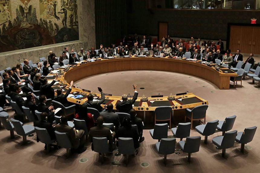 Members of the United Nations Security Council voting on the Treaty on Non-Proliferation of Nuclear Weapons (NPT) at United Nations Headquarters in New York on June 9, 2015.Former US secretary of state Madeleine Albright and a coterie of vetera