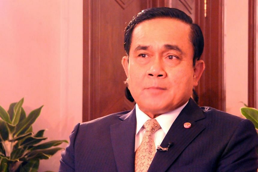 Thailand's Prime Minister Prayut Chan-o-cha during an interview with Singapore media in Bangkok.