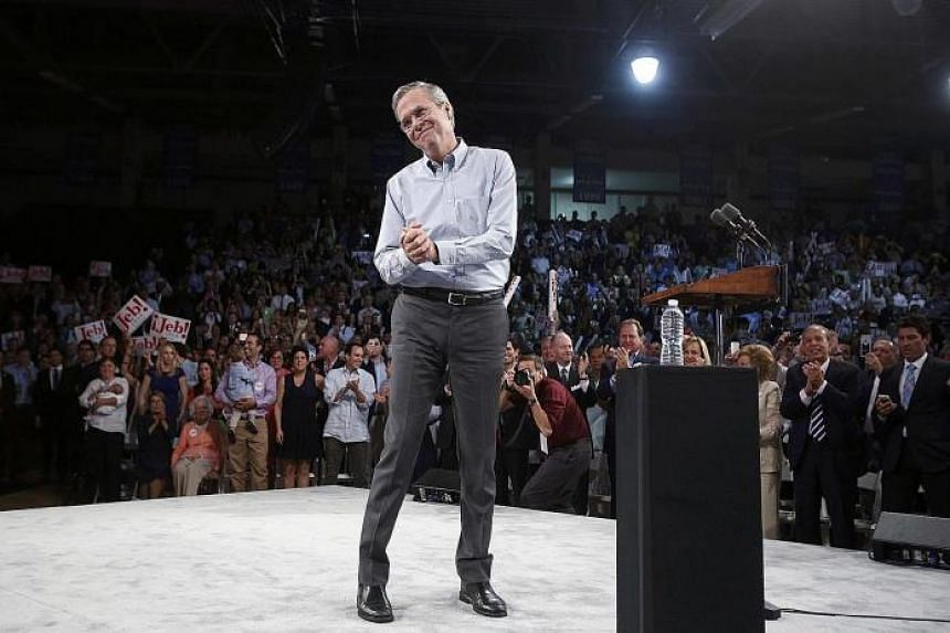 Former Florida governor Jeb Bush acknowledging supporters while formally announcing his campaign for the 2016 Republican presidential nomination during a kick-off rally in Miami, Florida, on Monday.