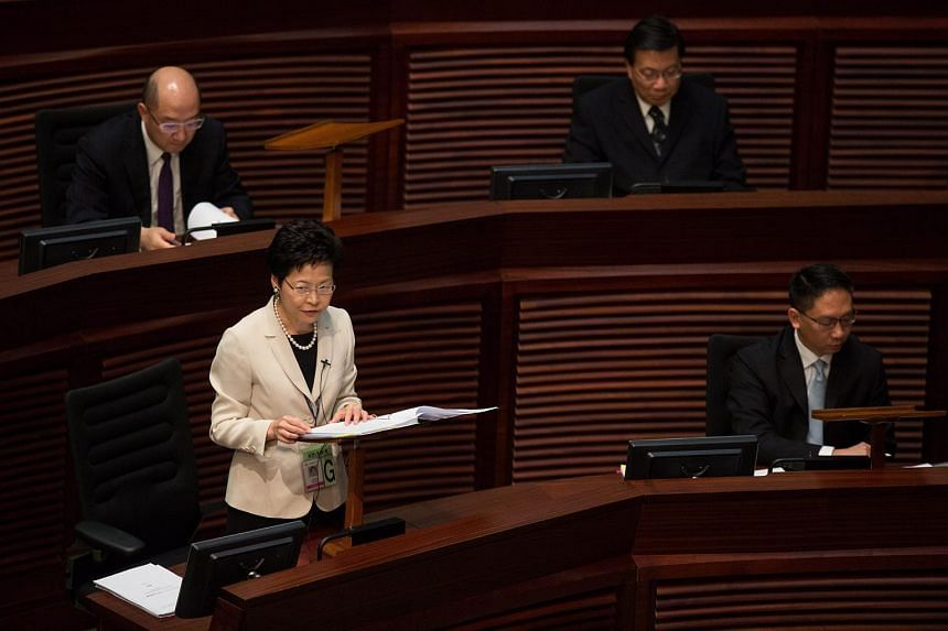 Hong Kong's chief secretary Carrie Lam speaking during a session in the chamber of the Legislative Council in Hong Kong on Wednesday.