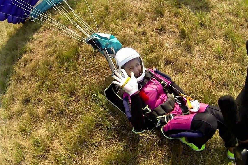 Jung In Ah landing after a skydiving attempt on June 8.