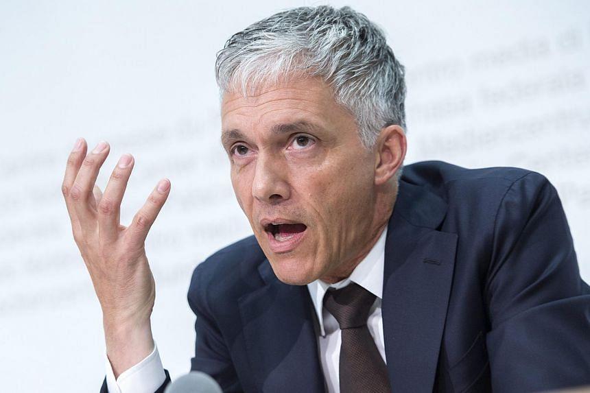 Switzerland's attorney general Michael Lauber speaking during a press conference in Bern, Switzerland.