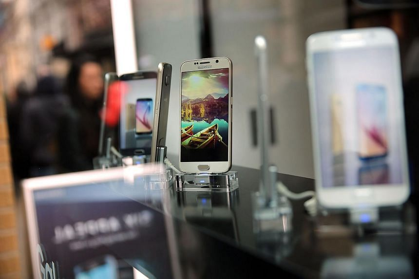 Smartphones on display at a shop in New York.