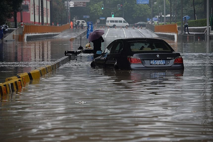 Some areas of Shanghai were heavily flooded after a strong downpour yesterday. As Chinese netizens mocked the outdated drainage system in one of China's most prosperous cities, Shanghai issued an alert yesterday warning of potential geological disast