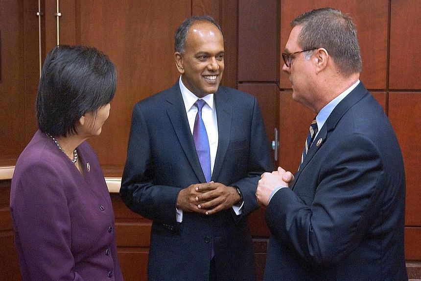 Singapore Foreign Minister K. Shanmugam with Congressional Singapore Caucus co-chair Denny Heck (right) and Representative Judy Chu, the chair of the Asian Pacific American Caucus, in Washington.