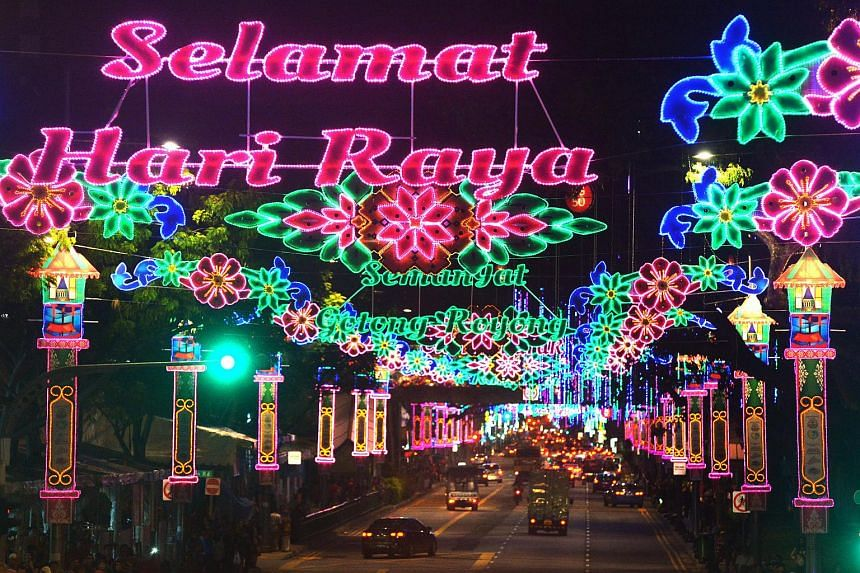 Pink, green and blue decorations lighting up the stretch of road from Geylang to Sims Avenue on June 13, 2015.