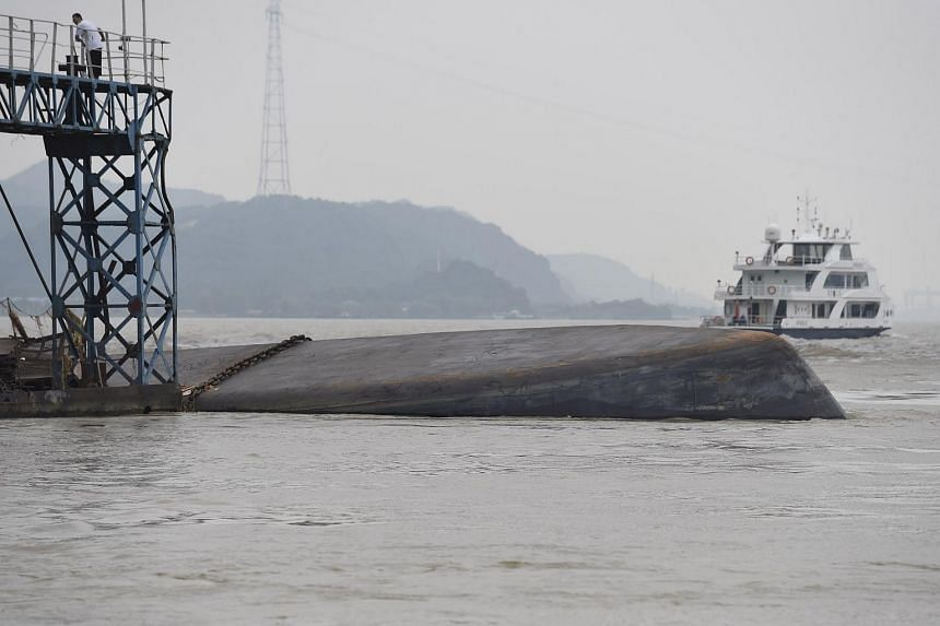 The Chinese cargo ship that capsized in the Yangtze river.