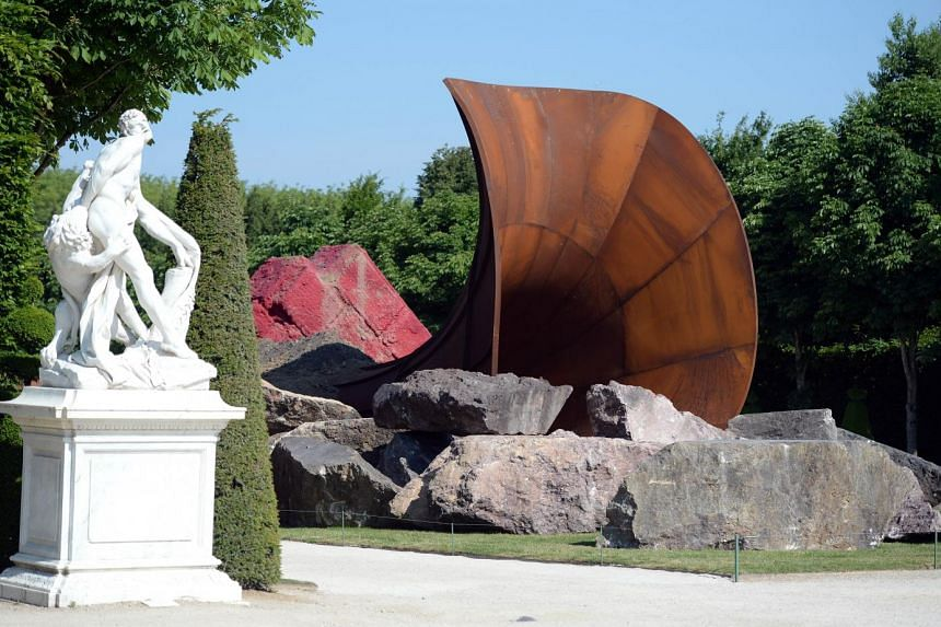 'Dirty Corner' by British contemporary artist of Indian origin Anish Kapoor, is displayed in the gardens of the Chateau de Versailles.