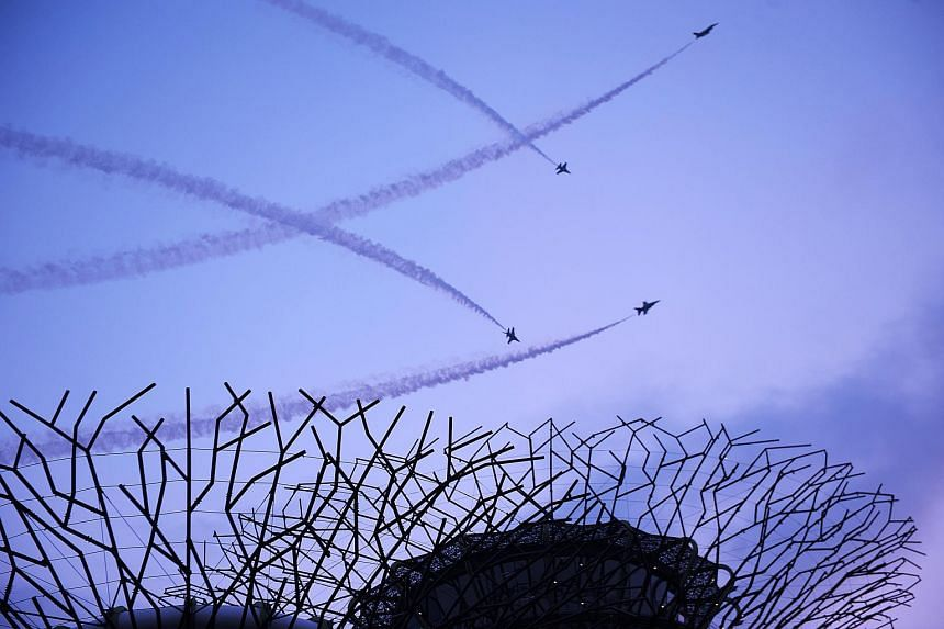 Republic of Singapore Air Force aircraft performing during the 2012 National Day Parade.