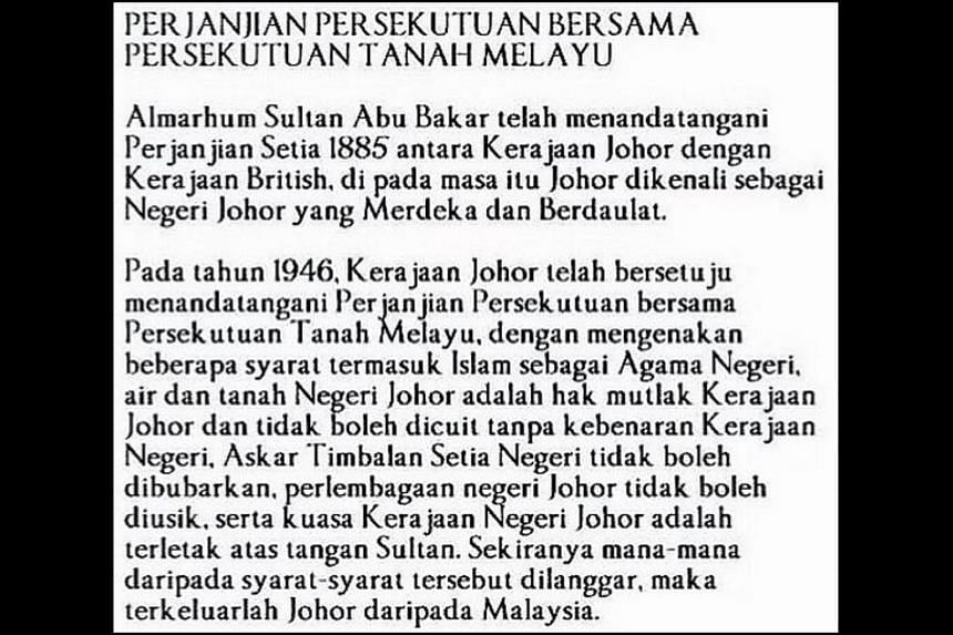 An Instagram post by Johor prince Tunku Idris Sultan Ibrahim suggesting a possible secession of the southern state from Malaysia has created a stir in Malaysian politics.
