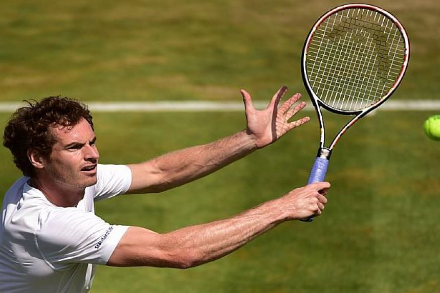 Andy Murray practices ahead of his second round match.