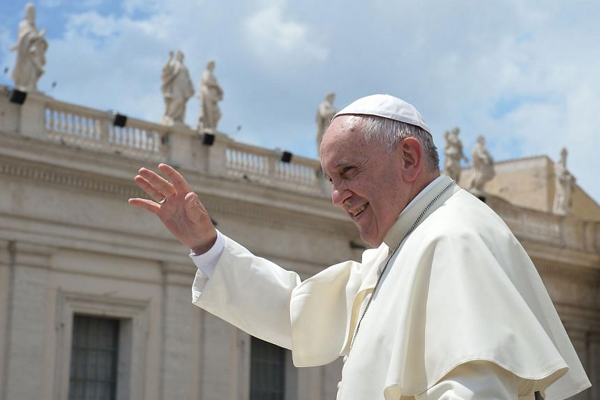 Pope Francis greeting the crowd at the end of his weekly general audience at St Peter's square on June 17, 2015.