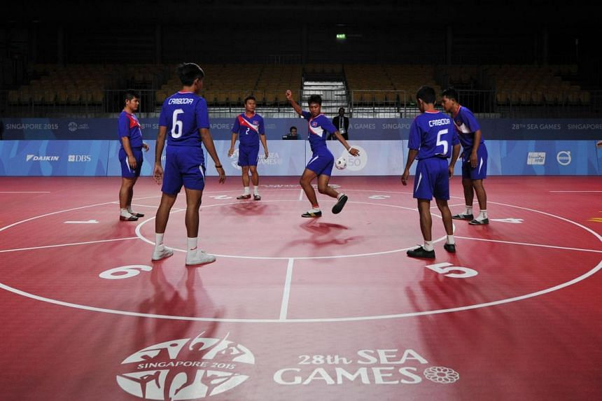 Thailand, Laos and Cambodia (above) - who won chinlone linking gold at the Singapore SEA Games - have converted some of their sepak takraw players to specialise in the sport to further revive it. Myanmar is also promoting the traditional discipline b