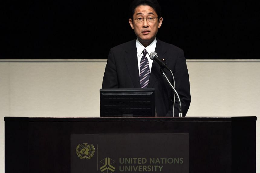 Japanese Foreign Minister Fumio Kishida delivering a speech at the United Nations University in Tokyo on June 20, 2015.