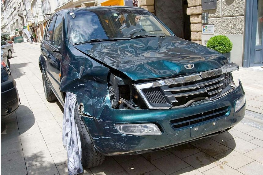 The vehicle that was driven into a crowded pedestrian street in Graz.