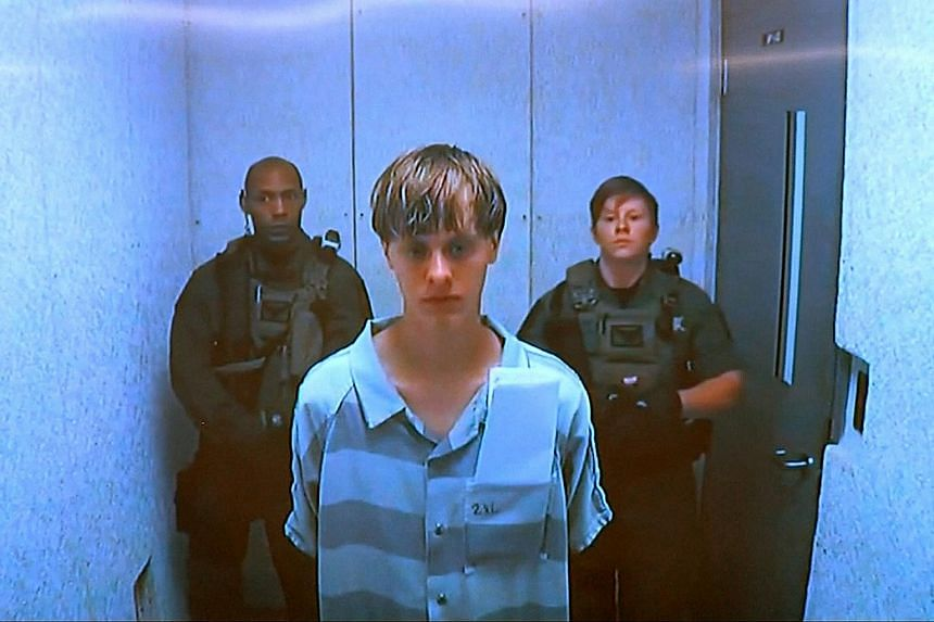 Dylann Storm Roof appears by closed-circuit television at his bond hearing in Charleston, South Carolina.