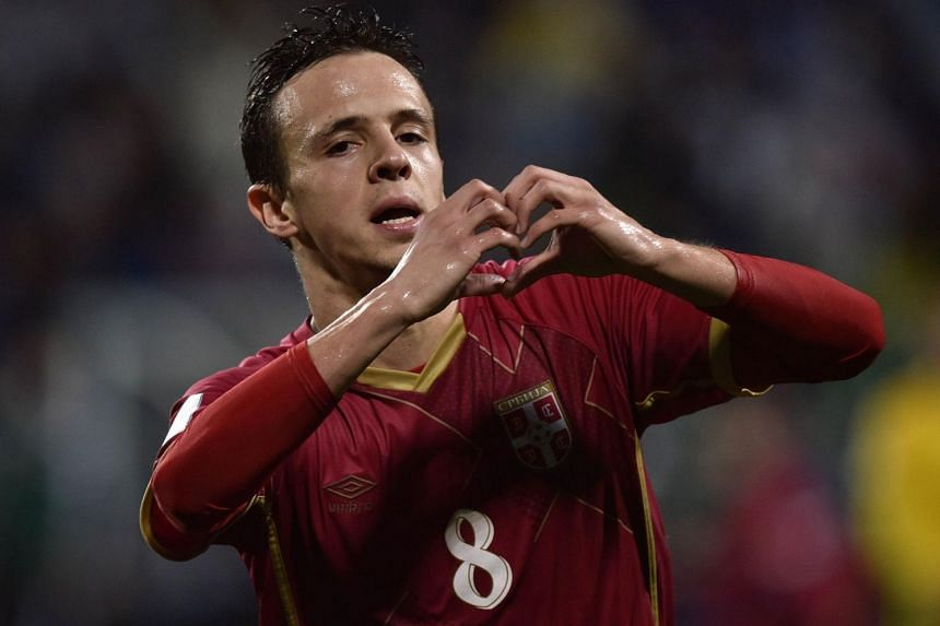 Nemanja Maksimovic of Serbia celebrates his winning goal during the FIFA Under-20 World Cup football final match between Brazil and Serbia.