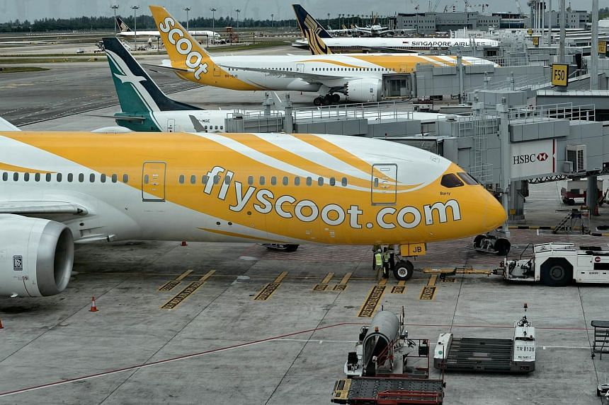 Scoot planes at Changi Airport. One of the budget carrier's flights from Hong Kong to Singapore was grounded due to a technical fault.