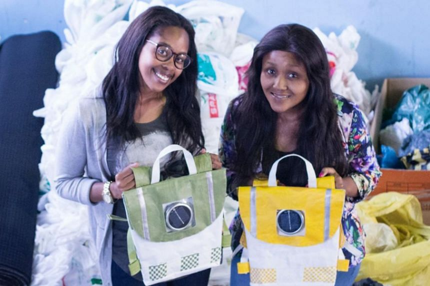Reabetswe Ngwane and Thato Kgatlhanye with their invention that helps children and creates jobs for adults, too.