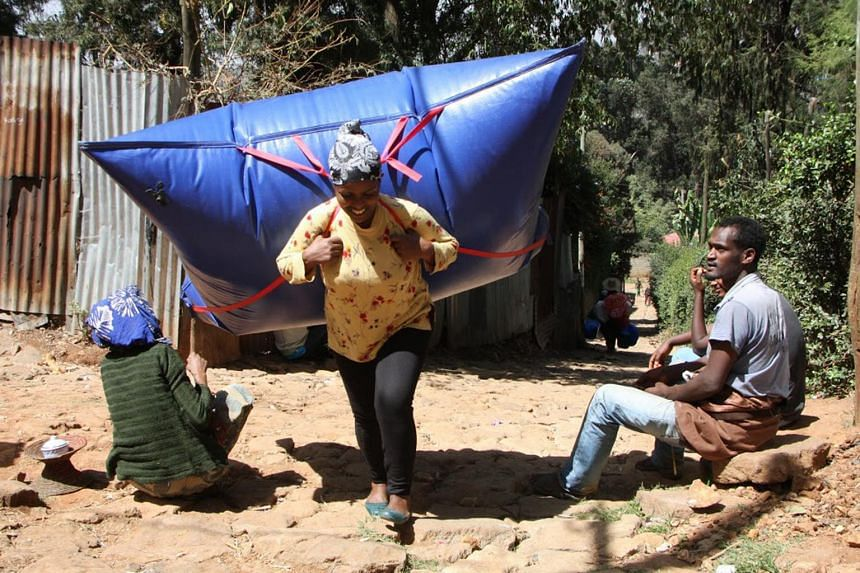 B(pack) is a biogas-filled backpack, seen here being used in Ethiopia, that weighs less than 5kg when fully inflated. It is created by B(energy), a German social enterprise, that helps poor rural communities turn their organic waste – such as manur