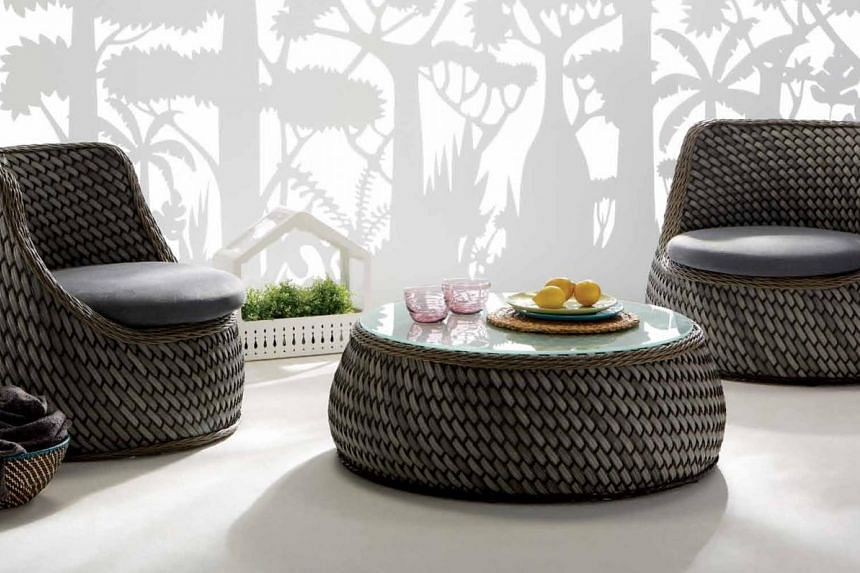 Featuring a stylish scooped-out eggshell design, the Casa Lounge Chair is woven with a mix of narrow and wide wicker. The all- weather, UV-resistant wicker and powdered aluminium frame prevents rust and ageing. Available at CMYK, it costs $1,728.
