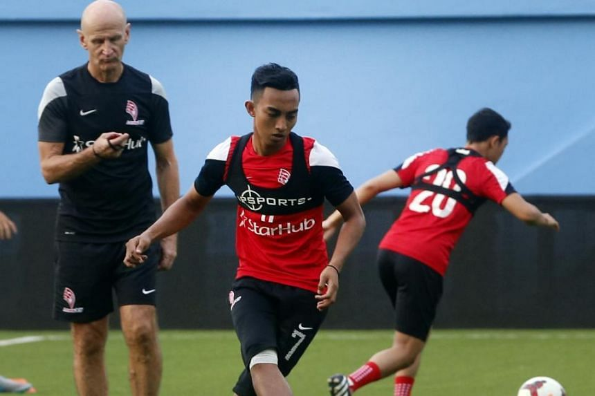 Faris Ramli at LionsXII training yesterday. He insists he has put the disappointment of the Young Lions' early SEA Games exit behind him and is ready to resume firing against their MSL rivals.