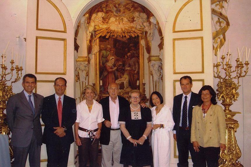 Mrs Eileen Bygrave (third from right) and her husband Jack Bygrave (fourth from left) and (from left) Mr Ferruccio Ferragamo, Mr Massimo Ferragamo, Ms Govanna Ferragamo, Mrs Wanda Ferragamo, Mr Leonardo Ferragamo and Ms Fulvia Ferragamo.