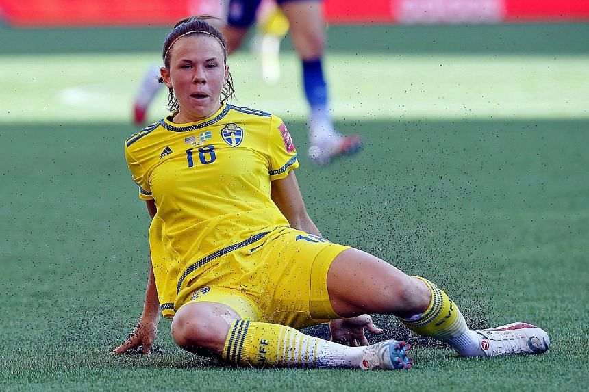 Defender Jessica Samuelsson (right) made sure the US could not breach Sweden's defence in their clash that ended goalless, a result which US striker Abby Wambach attributed to the artificial pitch.