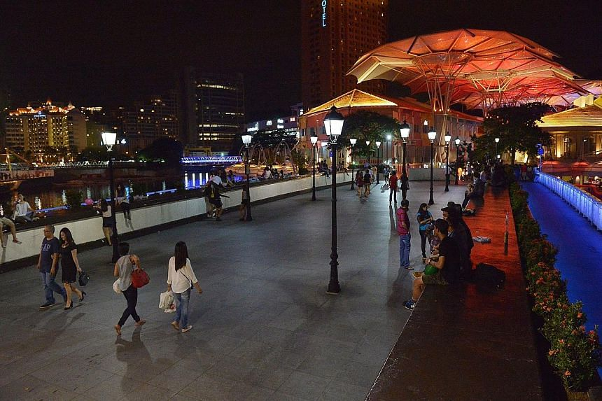 Now: Read Bridge at Clarke Quay is now cleaner and quieter. The new law bans drinking in public from 10.30pm to 7am.
