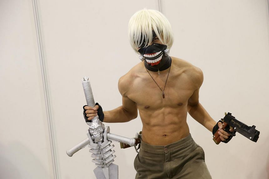 Mr Roy Alamon, 23, turned heads at CharaExpo 2015 with his costume which is a combination of Dante from Devil May Care video game and Ken Kanekie from Tokyo Ghoul.