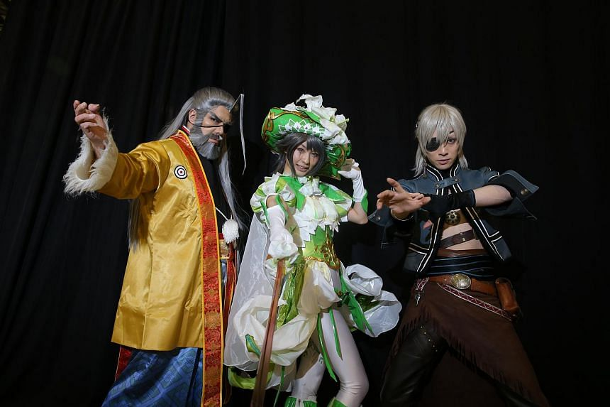 Famed Japanese cosplay stars (from left) Tatsumi Inui, Sin Izumi and Kaname, at the CharaExpo 2015 at Singapore Expo, on June 20, 2015.