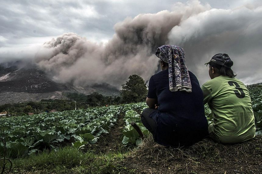 In this picture taken on June 16, 2015, a farming family look on as the mount Sinabung volcano erupts in Karo district, North Sumatra province.