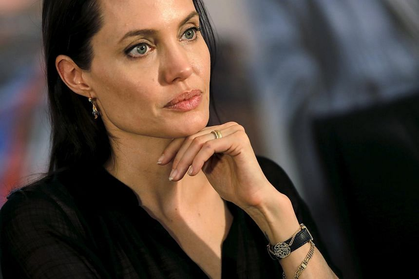 Angelina Jolie at a news conference as she visited a camp for Syrian refugees.