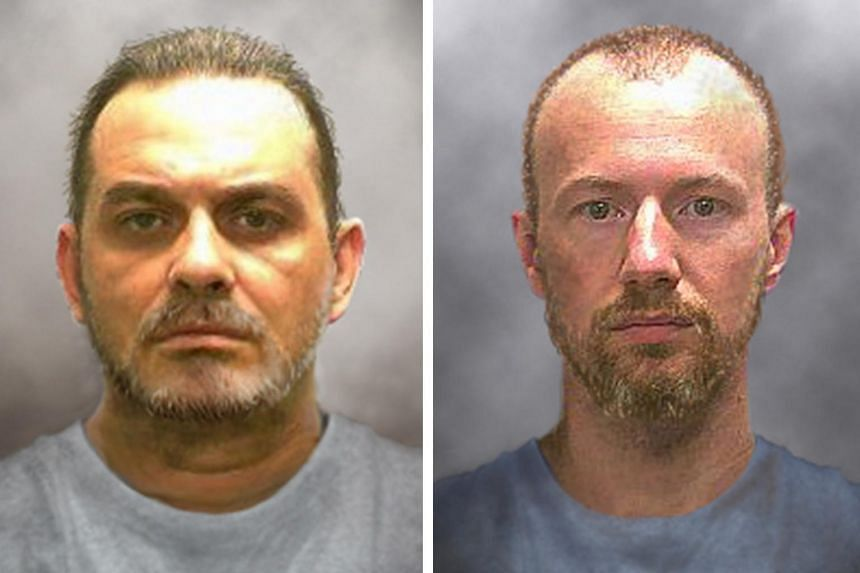 Prison inmates Richard Matt, 48, (left) and David Sweat, 35, are seen in a combination of enhanced pictures released by the New York State police on June 17, 2015.