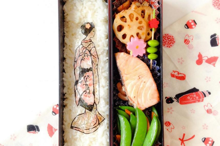 Ms Shirley Wong gets up at 5am to put a creative touch to her lunch, such as cutting seaweed to make the image of a geisha (above) on her rice and using different food items to create the Totoro meal.