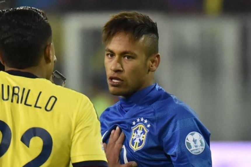 Brazil's Neymar, arguing with scorer Jeison Murillo during the match, was sent off for head-butting the Colombian during an altercation after losing the game 0-1.