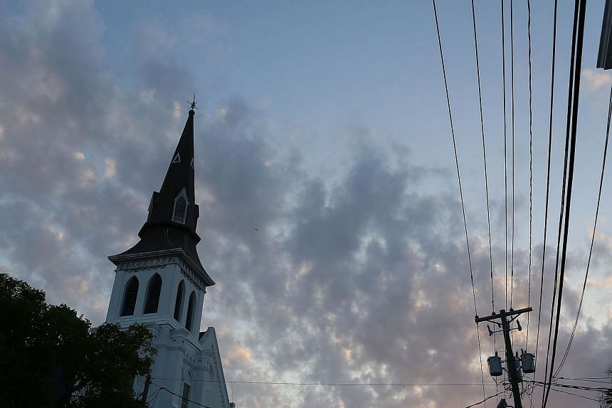 The steeple of the Emanuel African Methodist Episcopal Church is seen in the early morning before it is opened for a Sunday service.