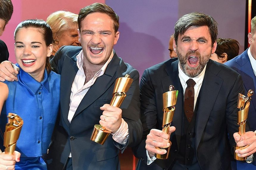 (From left) Laia Costa (Best Actress), Frederick Lau (Best Actor) and director Sebastian Schipper (Best Director) celebrating as their film Victoria clinched the top prizes at the German Film Awards.