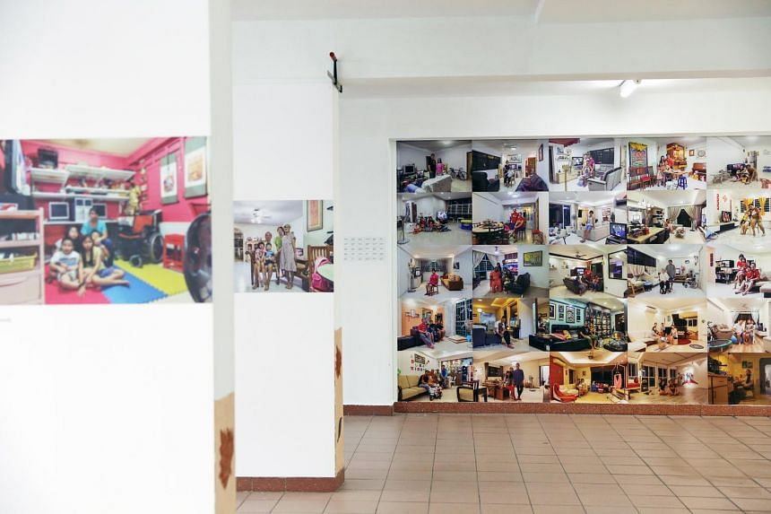 """A collage of 30 living room scenes, entitled """"Memory Blocks"""", by photographer Bob Lee. It is part of the SG Heart Map HomeScapes photography exhibition that opened yesterday and runs until July 5."""