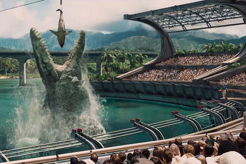A scene from Jurassic World which continues to devour records at the box office.