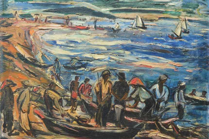 The top sale of 33 Auction's spring sale, held at the Grand Hyatt on Sunday (June 21) afternoon, went to Sorting The Day's Catch, a rare oil painting by Singaporean pioneer artist Chen Wen Hsi which sold for $170,000.